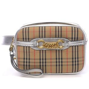 BURBERRY Check Canvas Leather Belt-Bag NWT